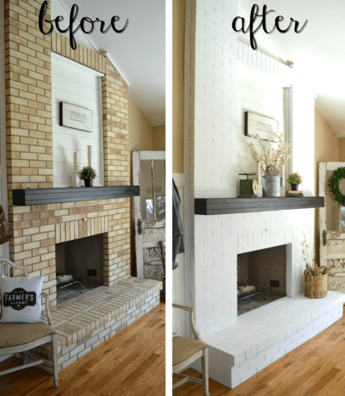 Before And After Images Of A Fireplace Makeover Using Whitewash To Update The Bricks Surrounding