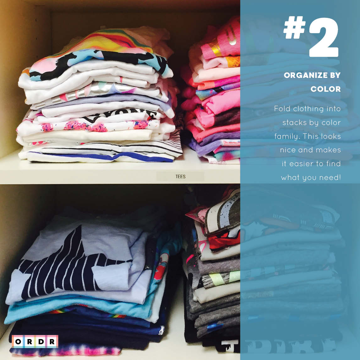 Shirts organized by color in a closet.