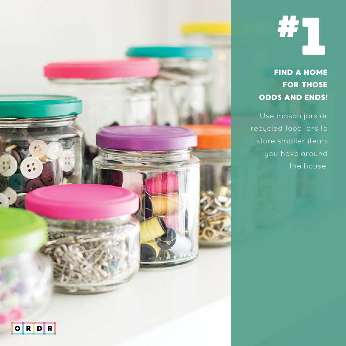 Clear jars filled with random items.