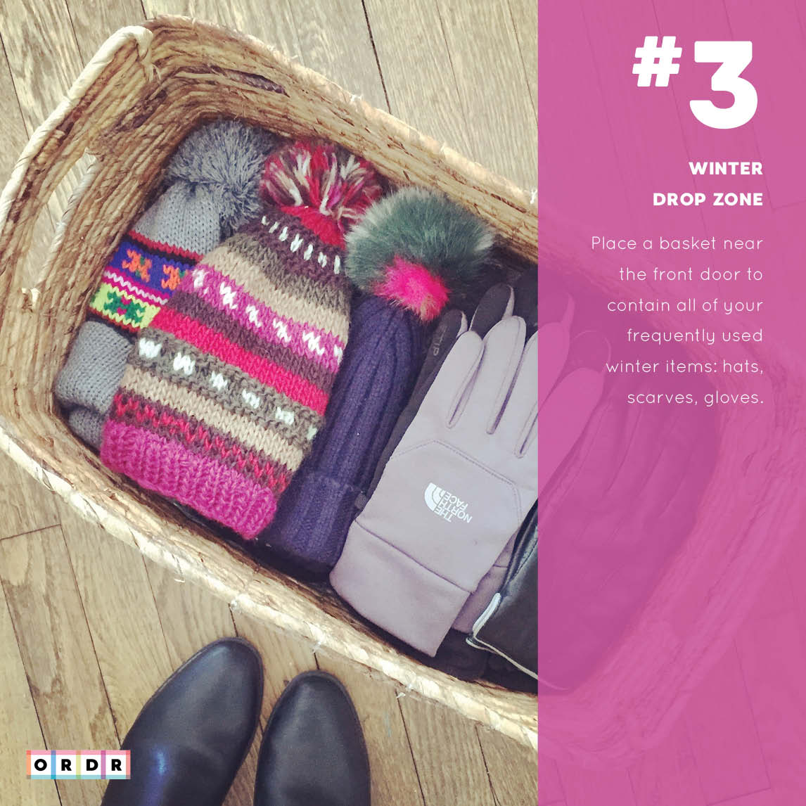 Basket of winter clothes.