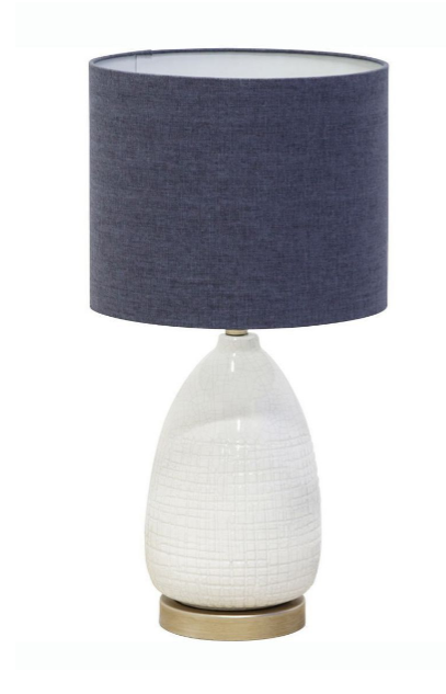 White lamp with blue denim lamp shade.