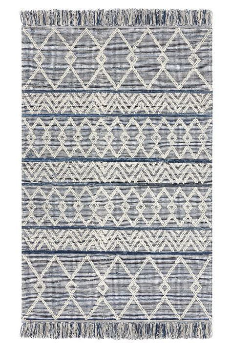 blue denim rug with triangular patterns.