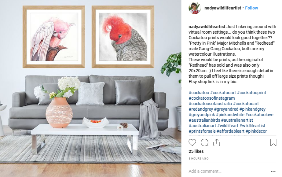 Millennial pink paintings of birds hung in a living room.