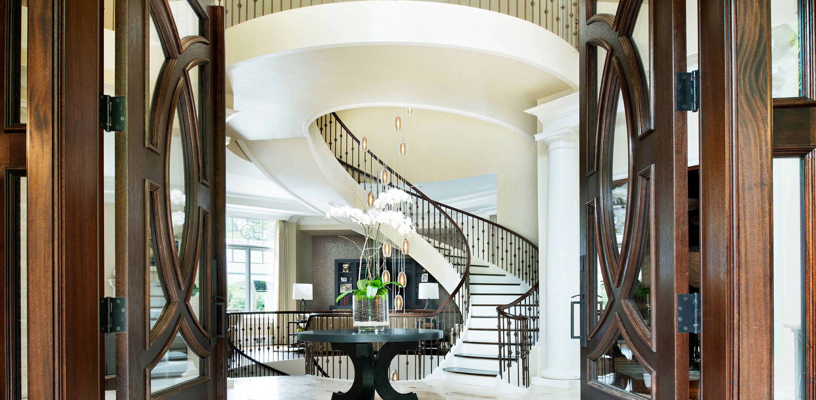 Grand entryway of a home.