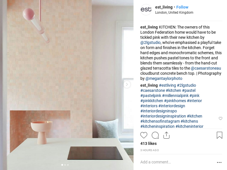 Millennial pink tile in a kitchen.