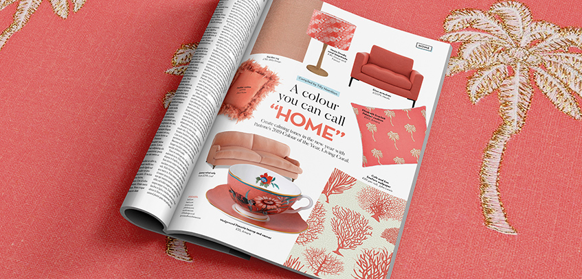 Magazine turned to a page featuring millennial pink products.