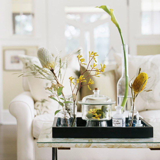 Coffee table with fresh flowers on top