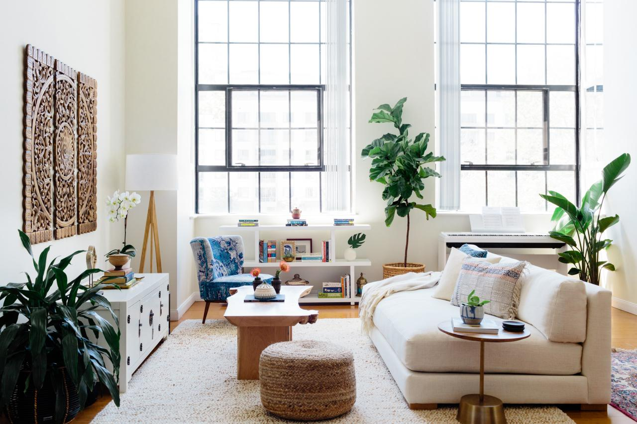 Staged living room in a loft apartment.