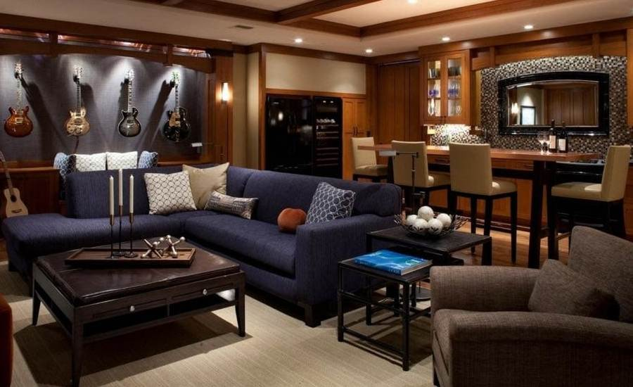 Luxurious man cave in modern home.