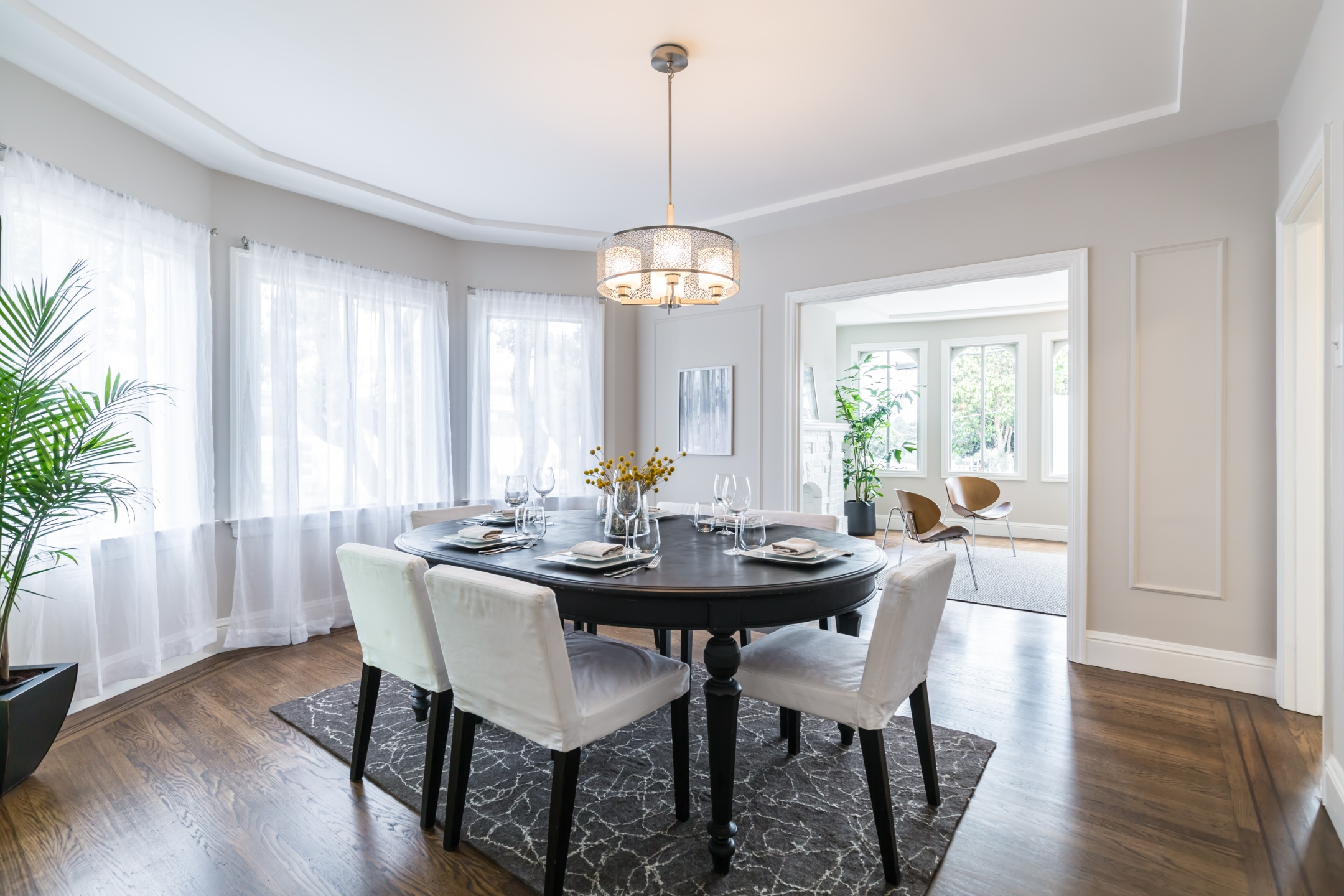 Dining table set during home staging