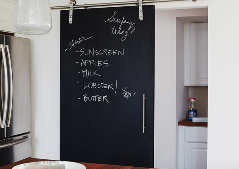 Kitchen with sliding door featuring a grocery shopping list