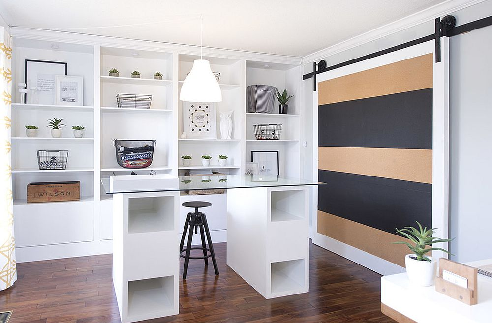 Office with a sliding barn door