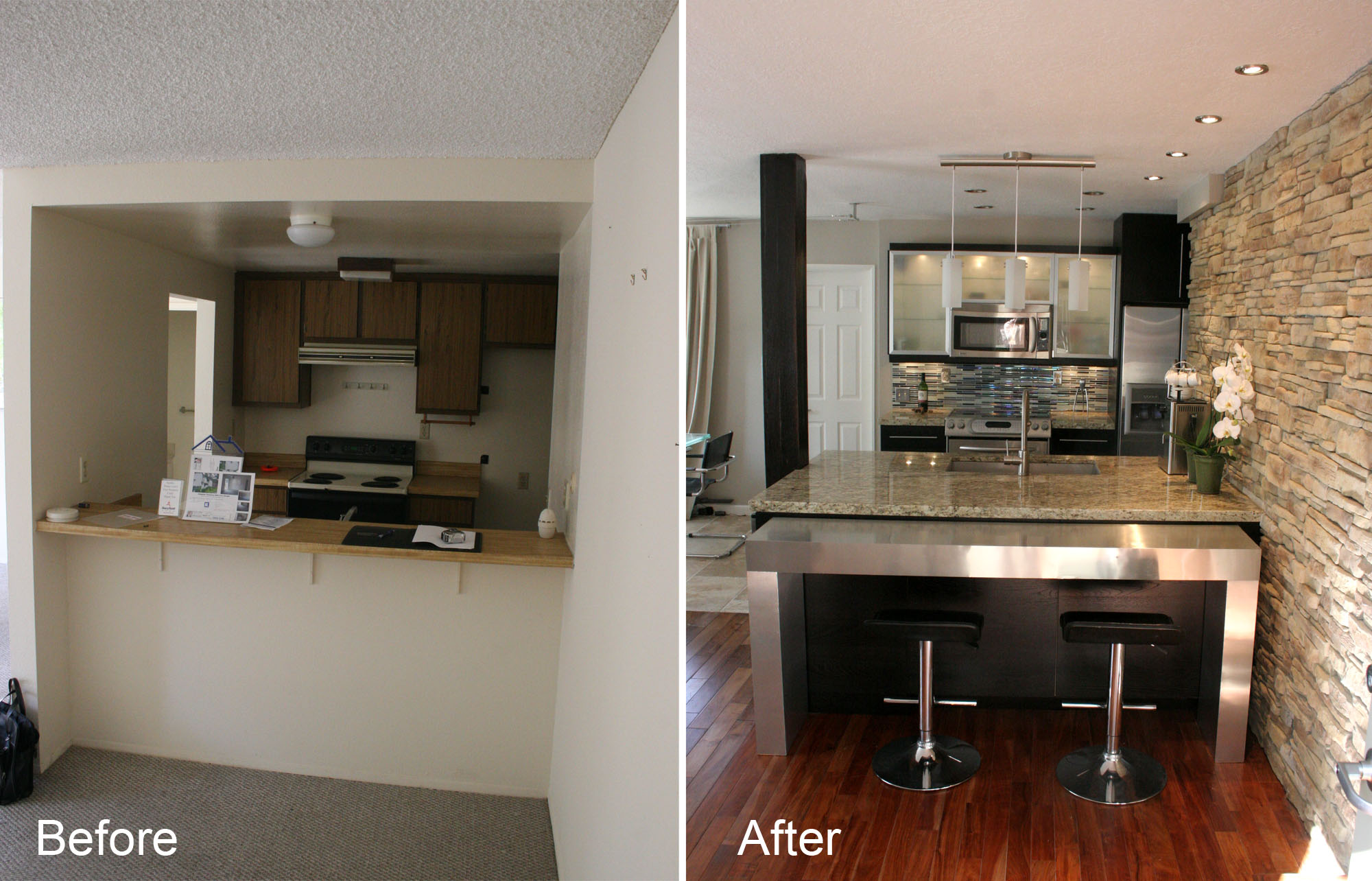 Before and after photo of a kitchen renovation.