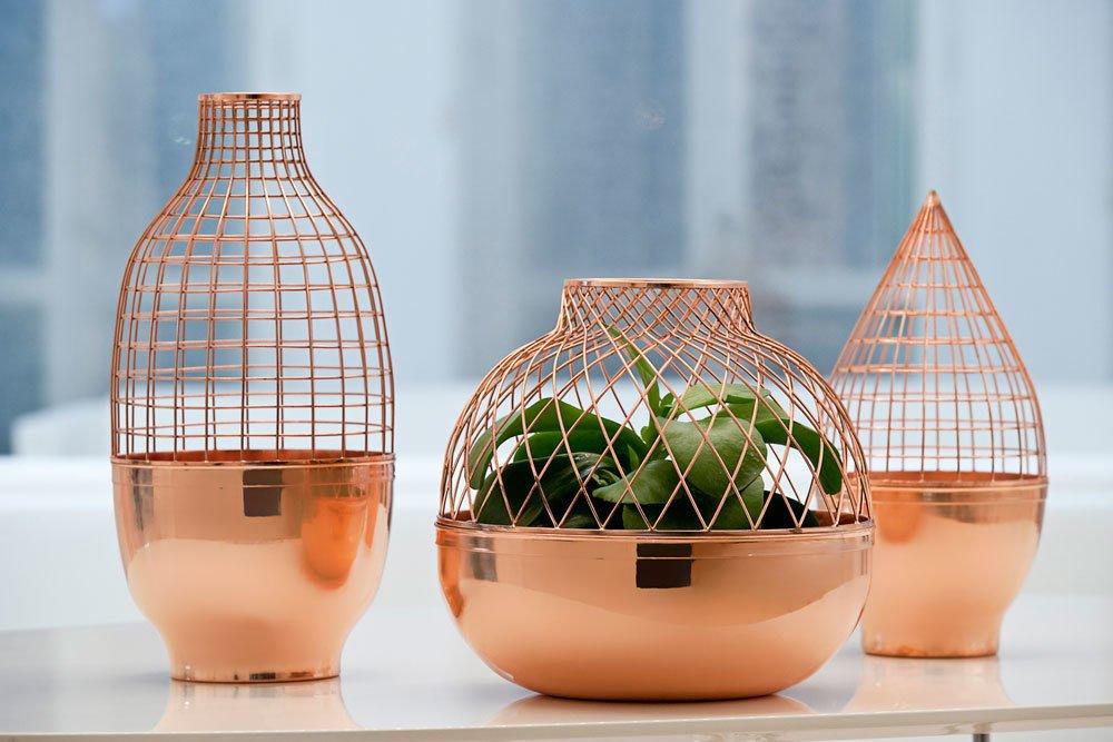 Copper decor incorporating fall design themes