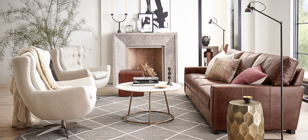 Living room staged with fall designs and seasonal trends.