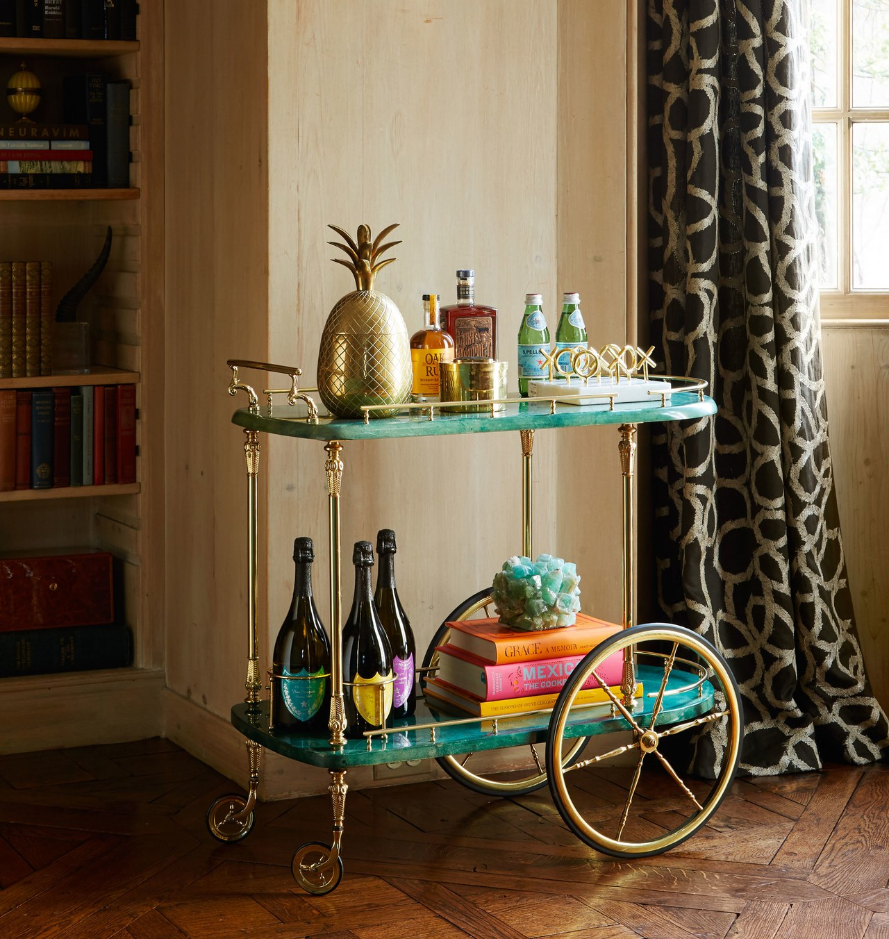 Bar cart with colorful decor