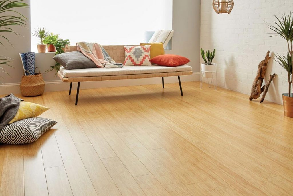 room with eco-friendly bamboo flooring