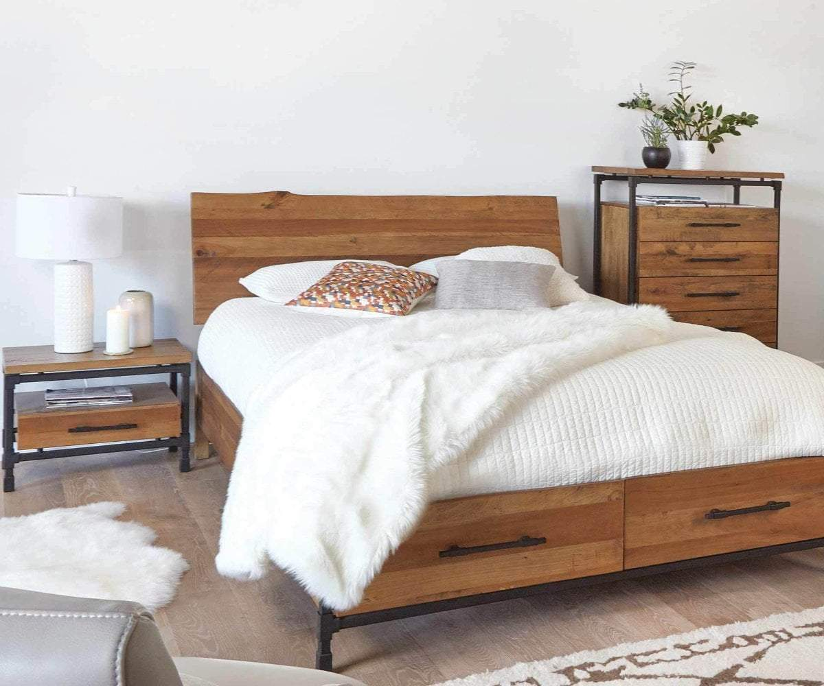 Scandinavian bed frame with white fluffy bedding