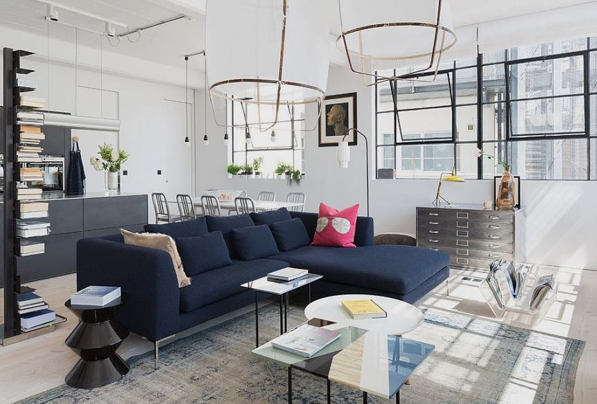 Blue Scandinavian couch in modern apartment