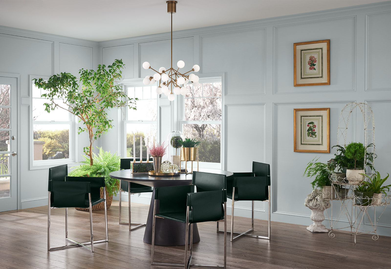 Sherwin-Williams Misty wall color in dining area