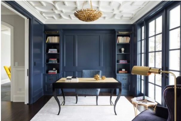 Home office with dark blue walls