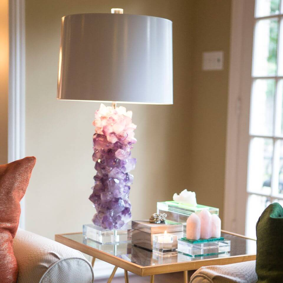 Side table with a crystal lamp