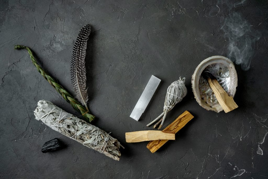 Smudging tools on a counter