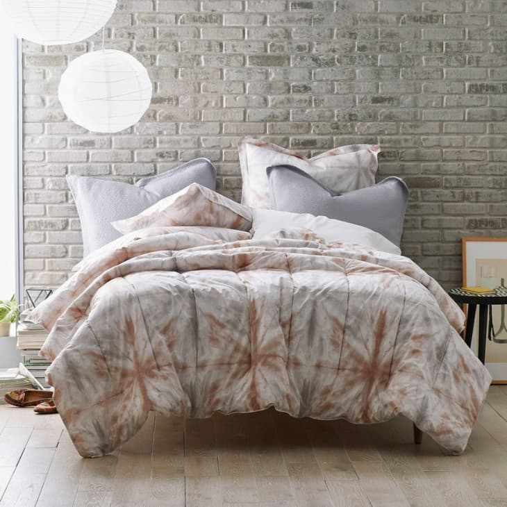 Urban bedroom with tie-dye bedspread
