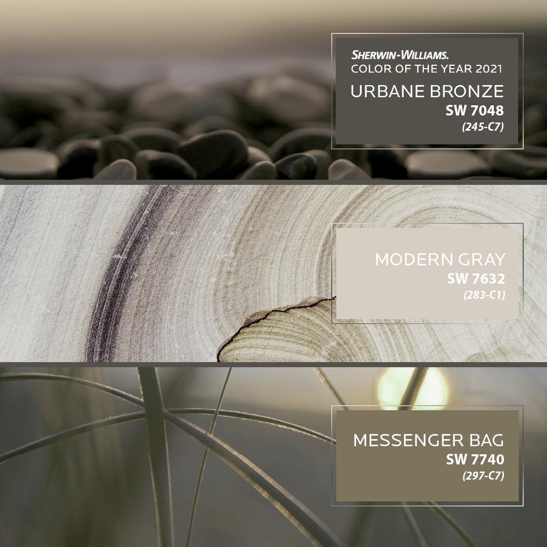 Sherwin Williams paint swatches featuring Urbane Bronze, Modern Gray, Messenger Bag