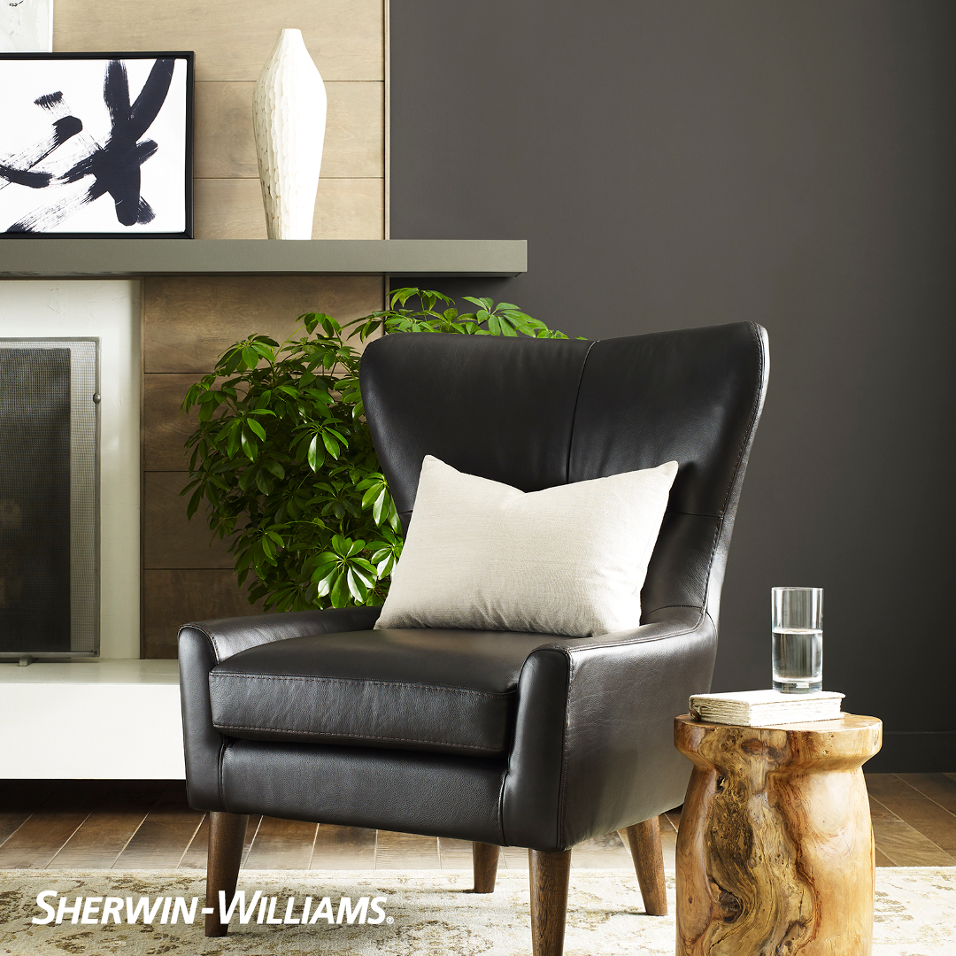 Sitting area with Sherwin Williams color of the year Urbane Bronze