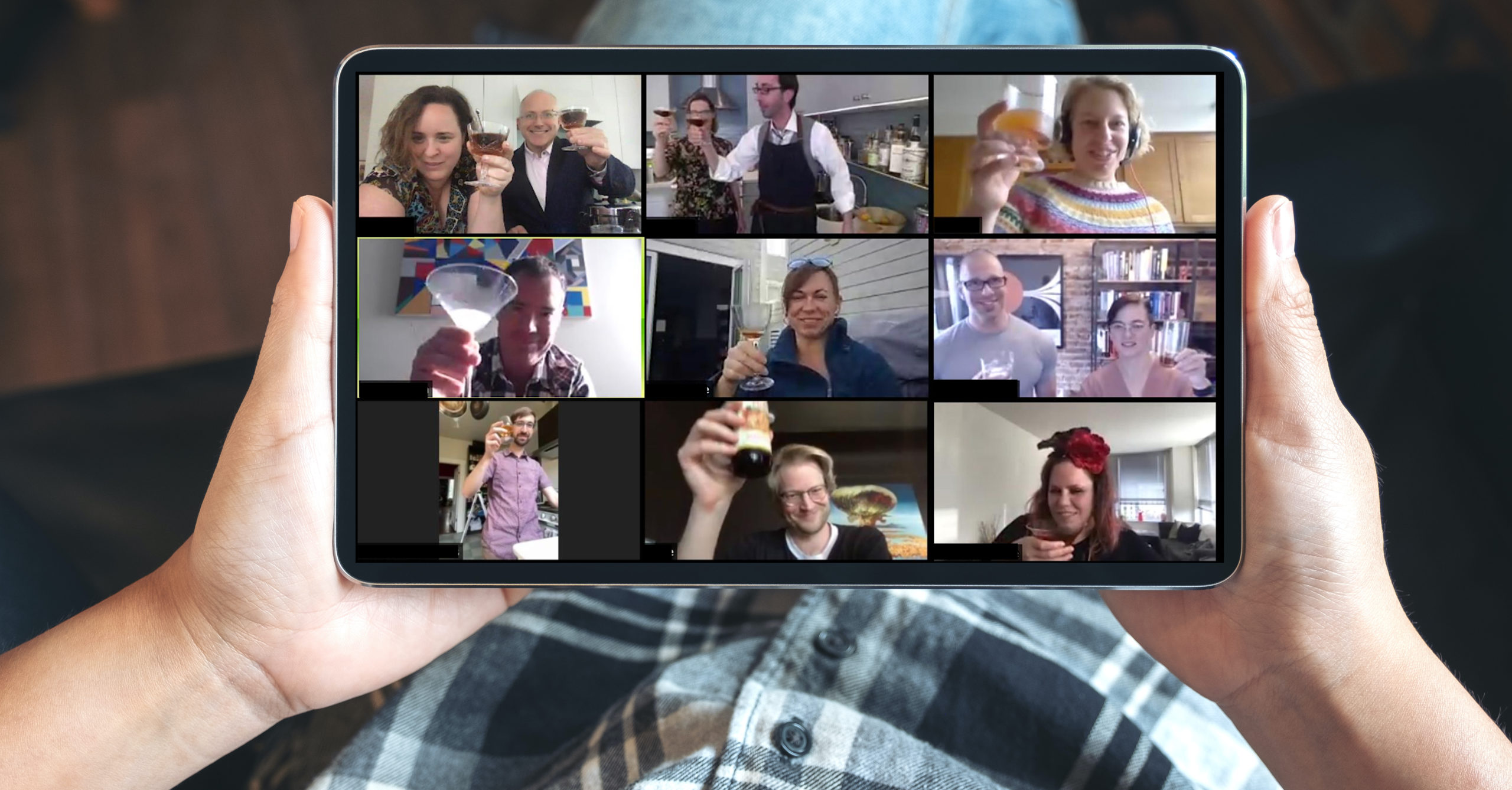 People toasting on a video conference call