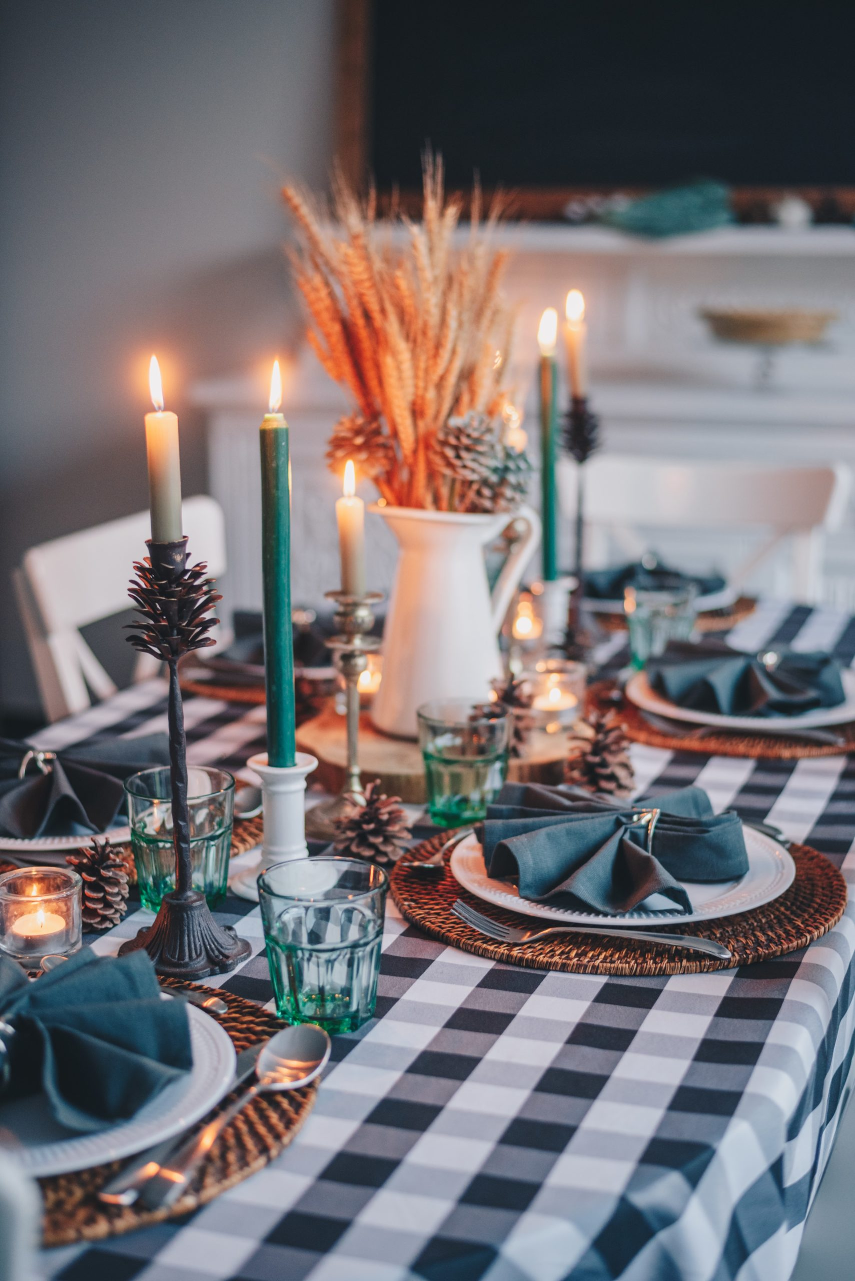 black and white themed Christmas table setting