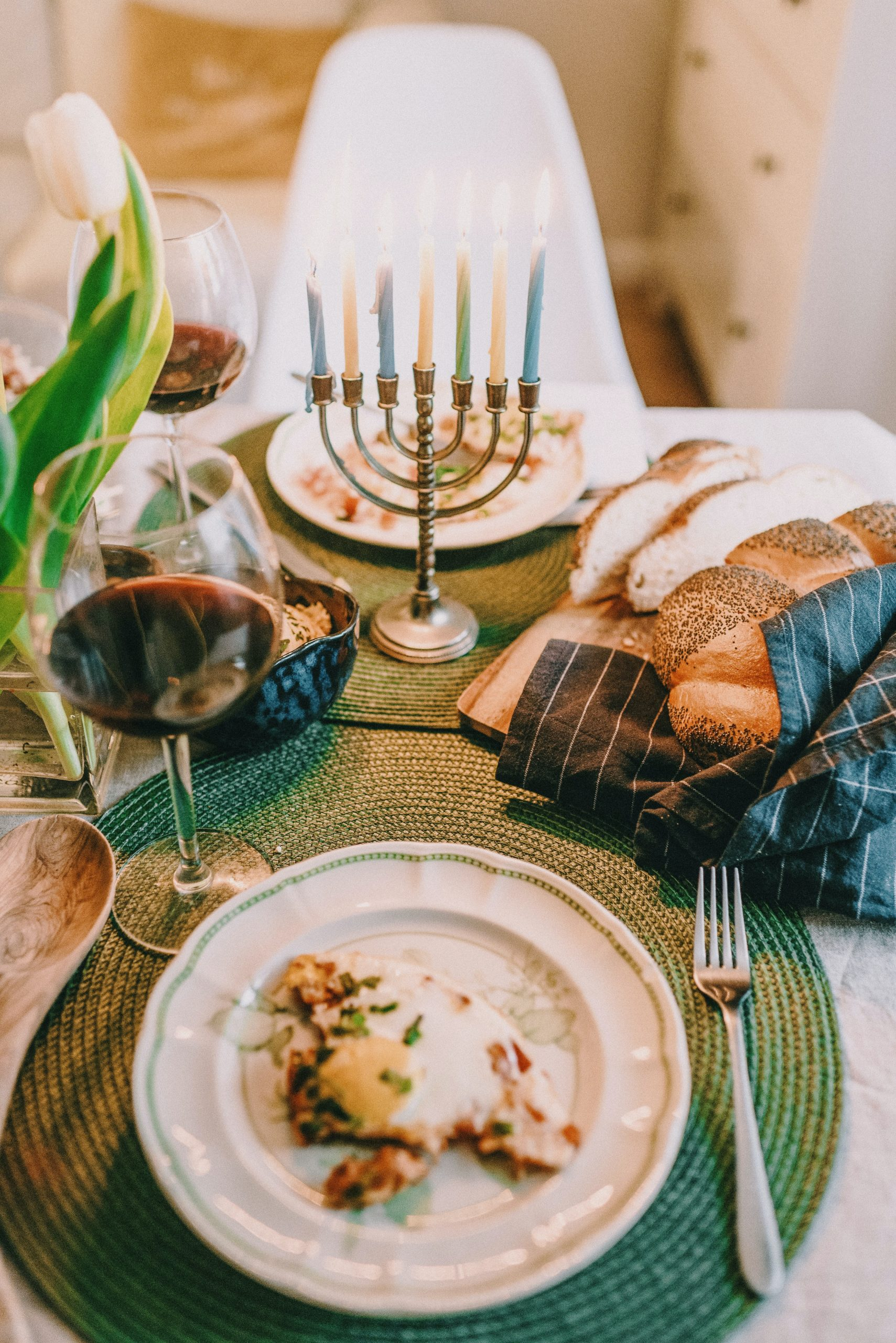 Hanukah-themed table setting