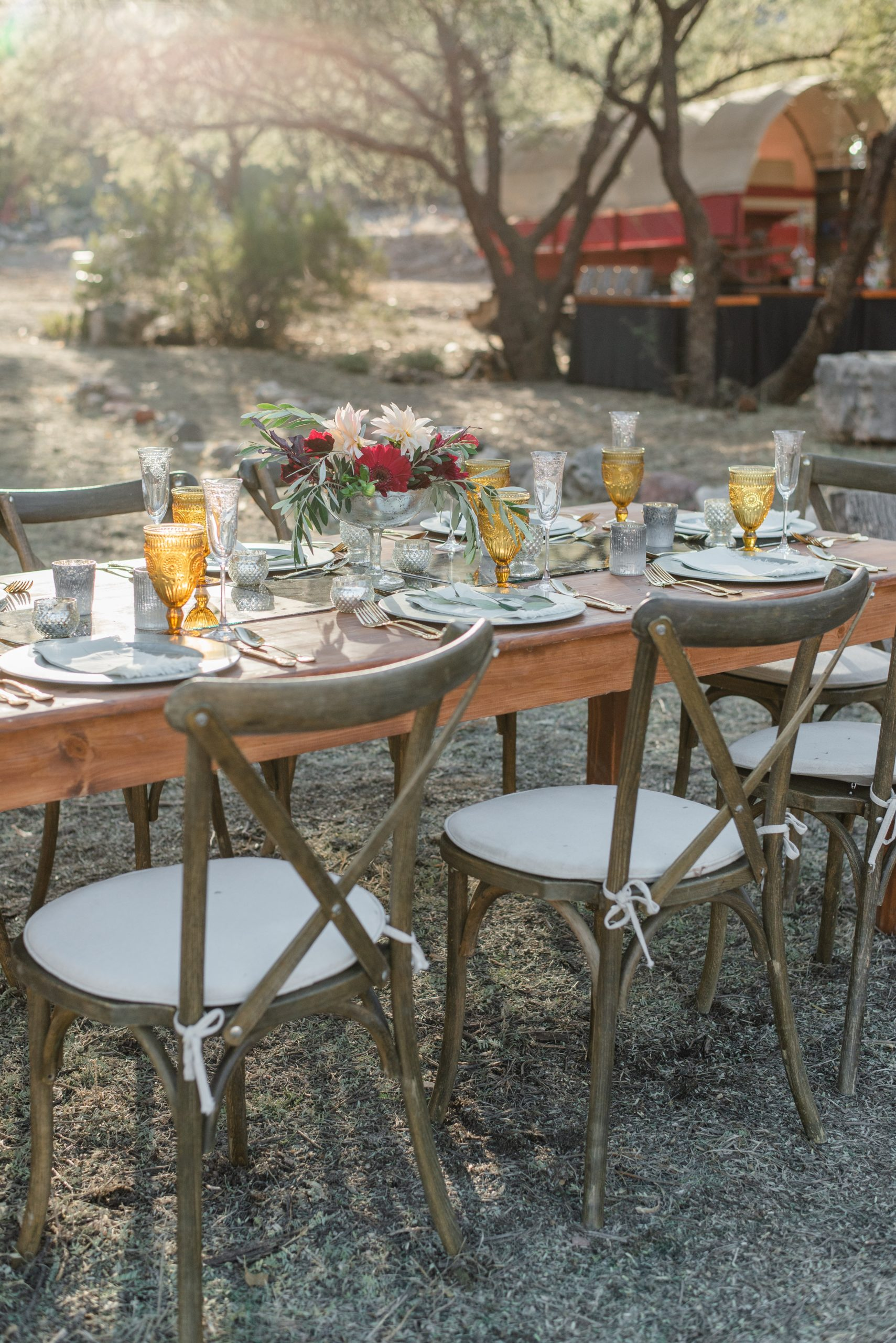 Outdoor dining table set for dinner