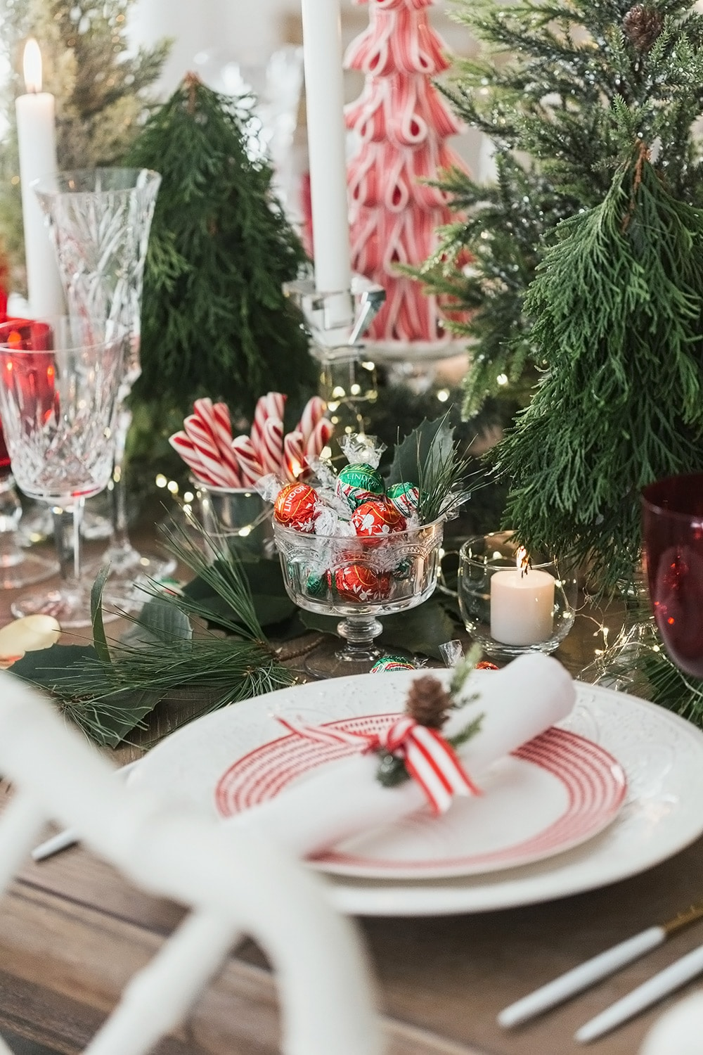 Christmas-themed table setting