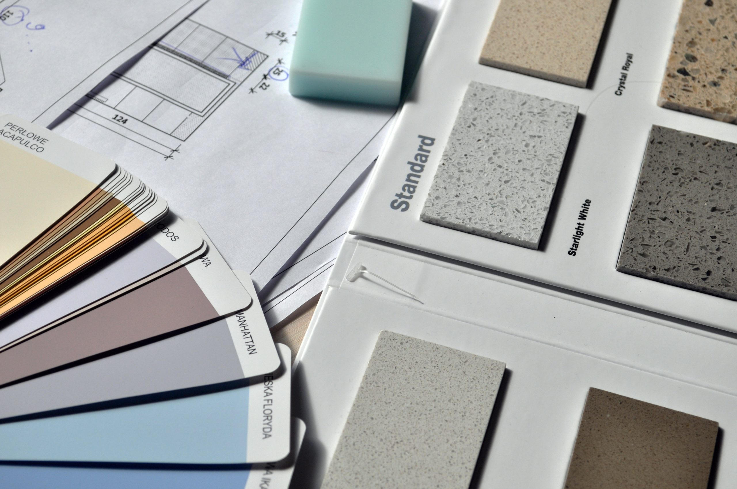 Paint swatches and flooring samples