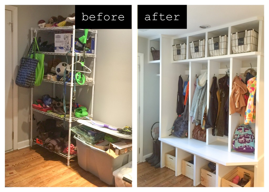 Before and after photos of a renovated mudroom.