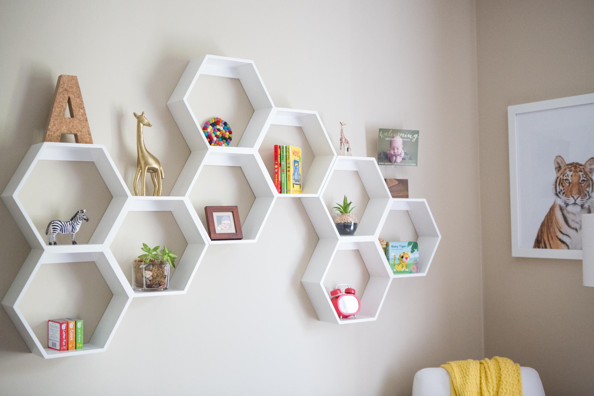 Floating shelves in a kids room