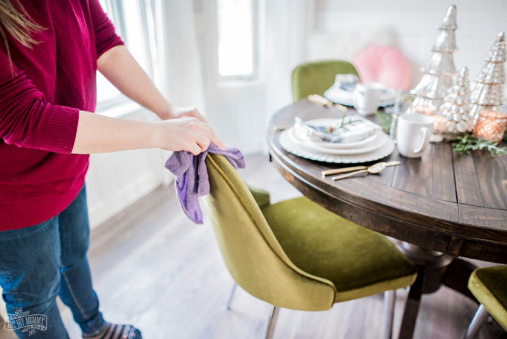 Person cleaning velvet furniture