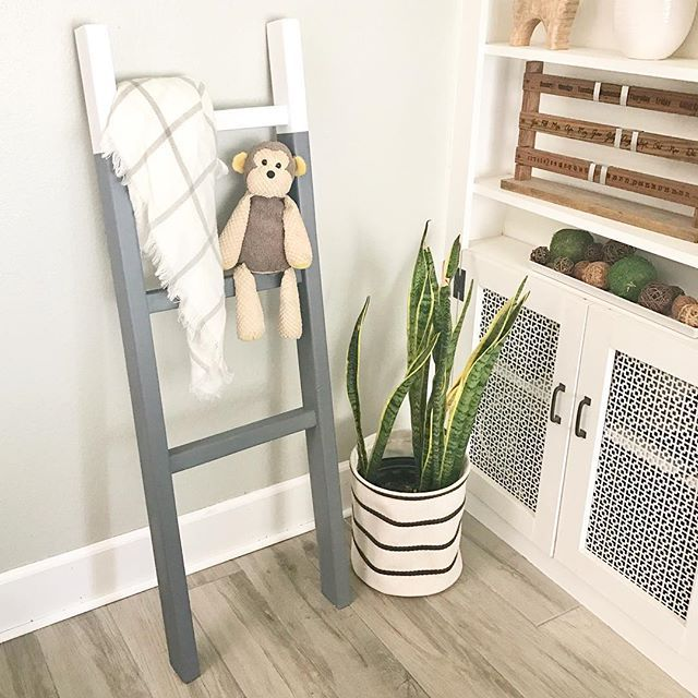 Decorative ladder next to snake plant in the corner of a room