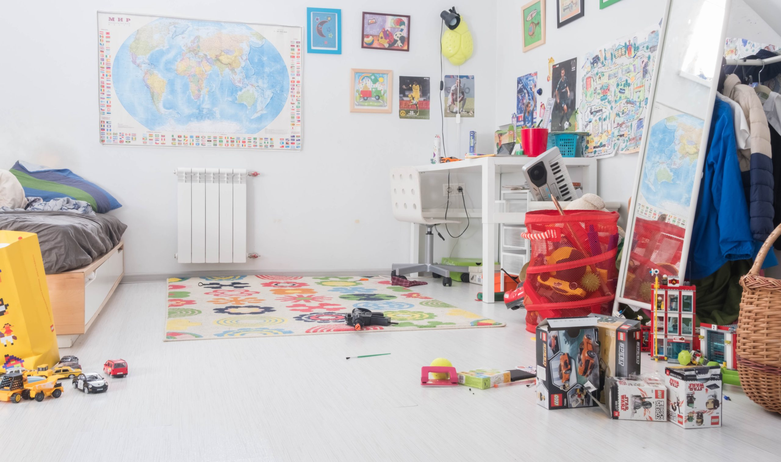 Kids play room with toys on the floor