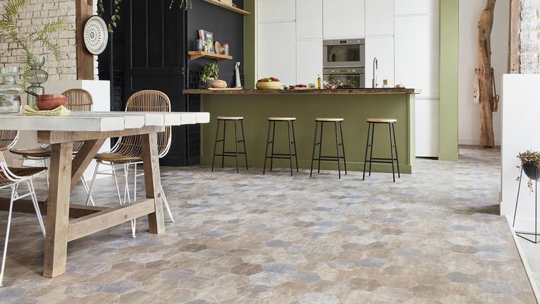 Rustic kitchen with vinyl flooring