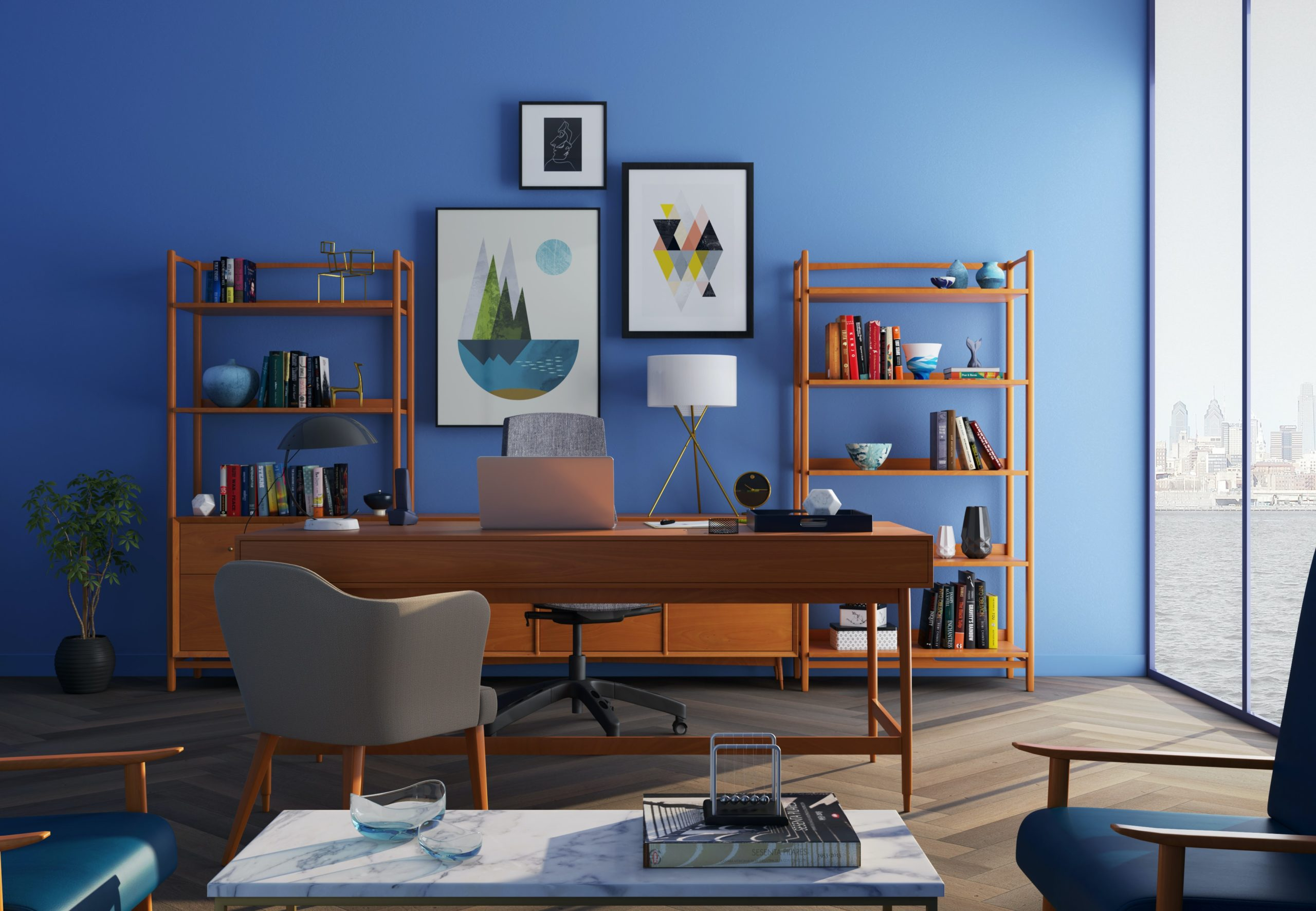 Mid century modern home office with vibrant blue accent wall
