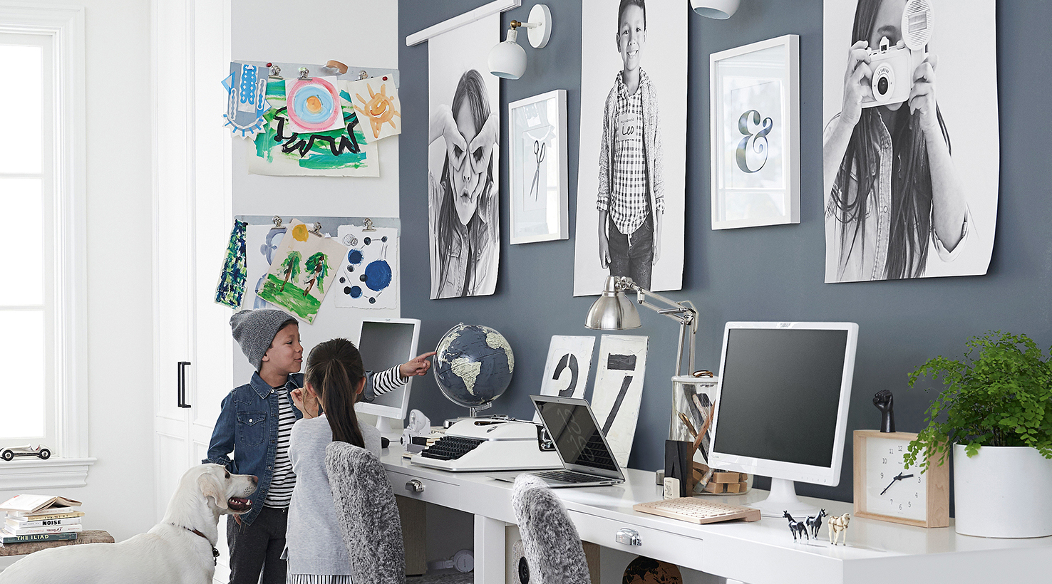 Children working on art projects in a home office