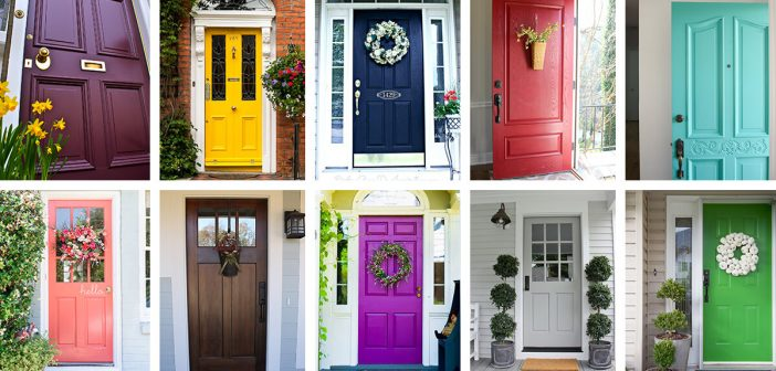 Collage of colorful front doors