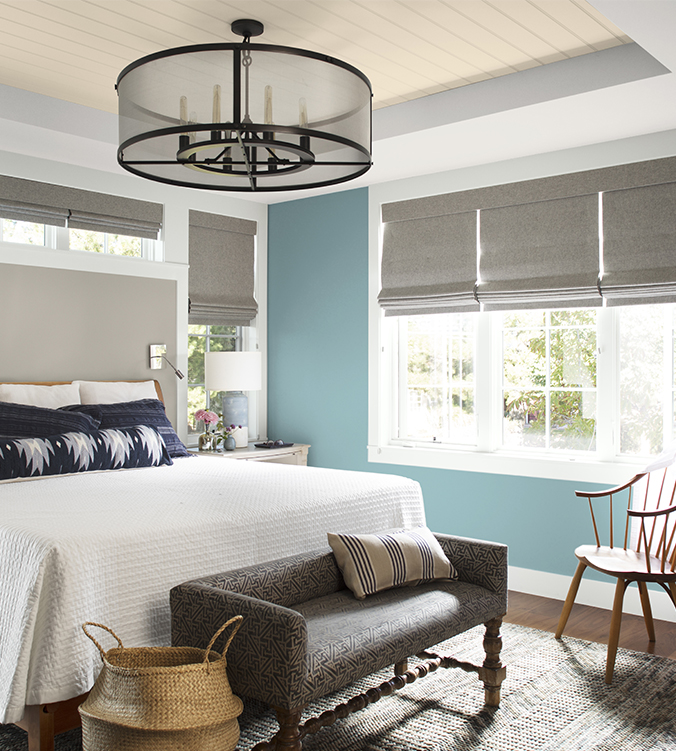 Staged bedroom with paint color from Benjamin Moore.
