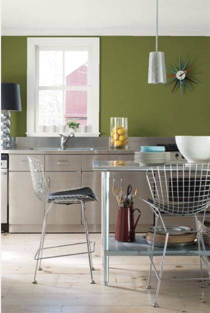 Kitchen are painted in Avocado color by Benjamin Moore
