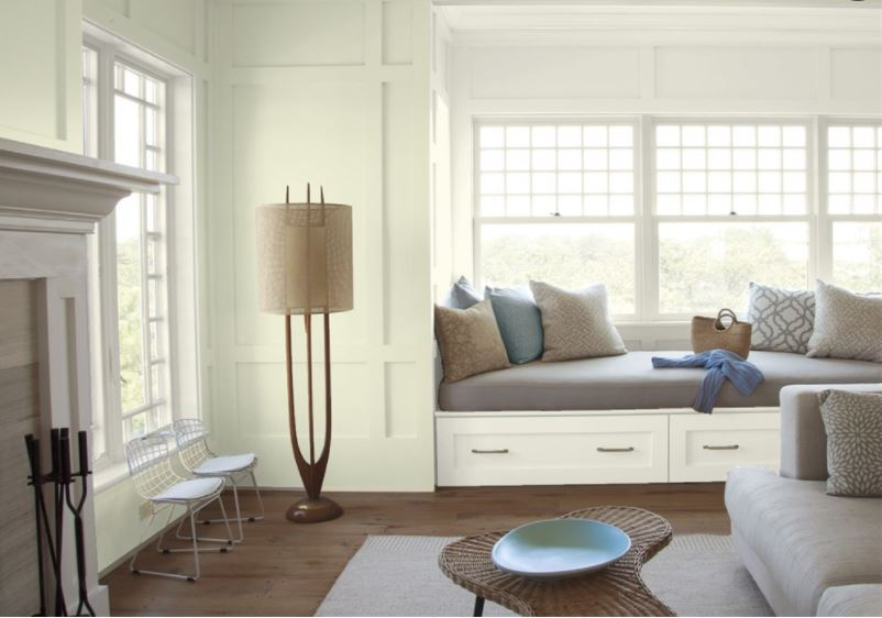 Living area painted with Limesicle color by Benjamin Moore