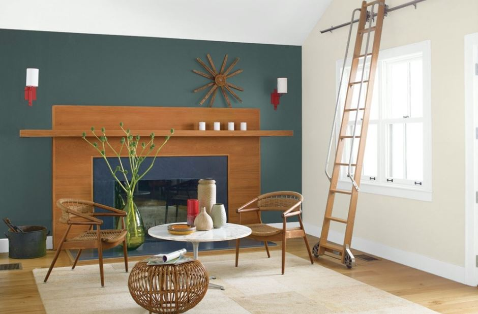 Sitting area with accent wall painted Mediterranean Blue by Benjamin Moore